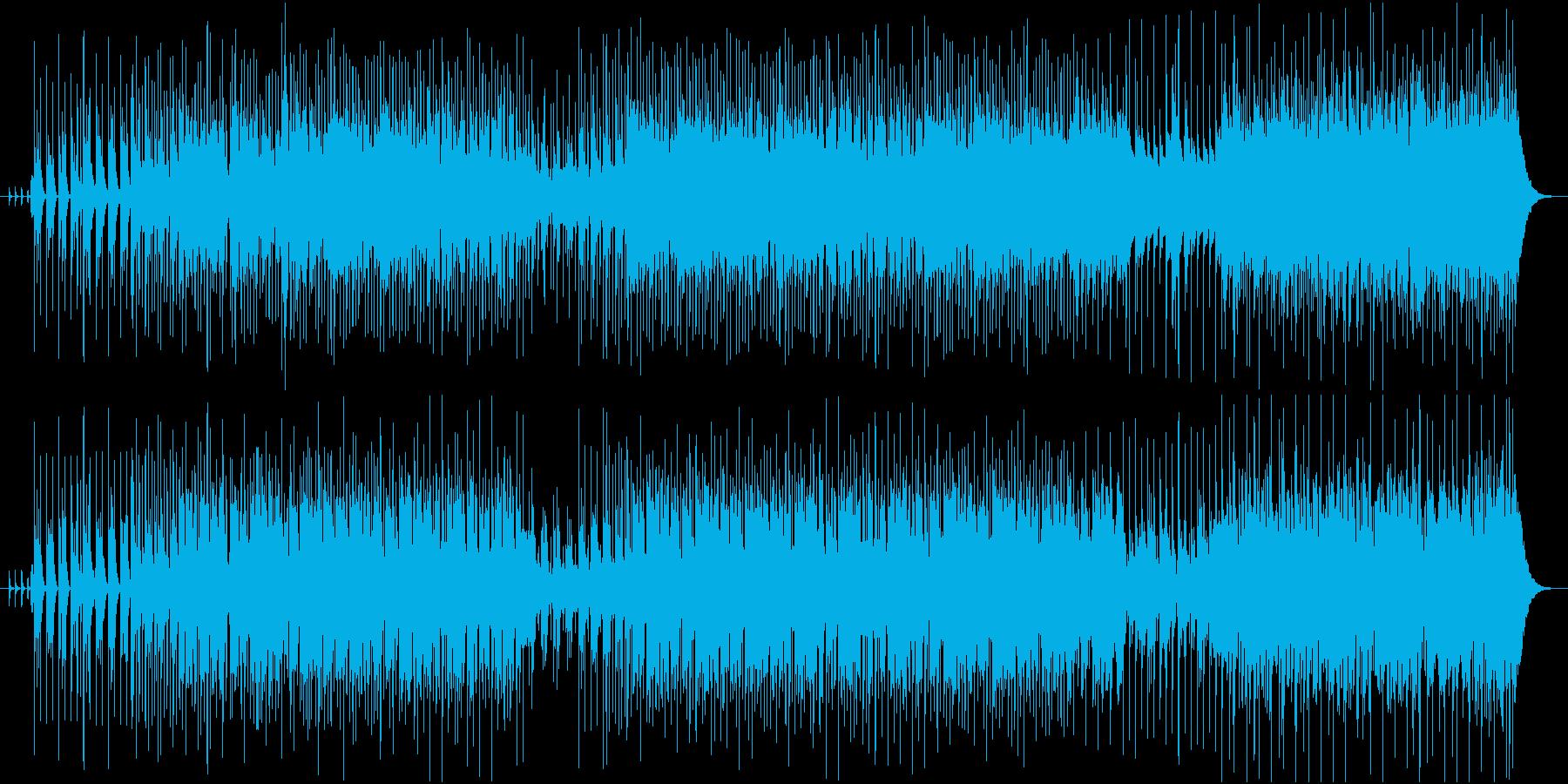 沢山の音とピアノのフレーズが交差する曲の再生済みの波形