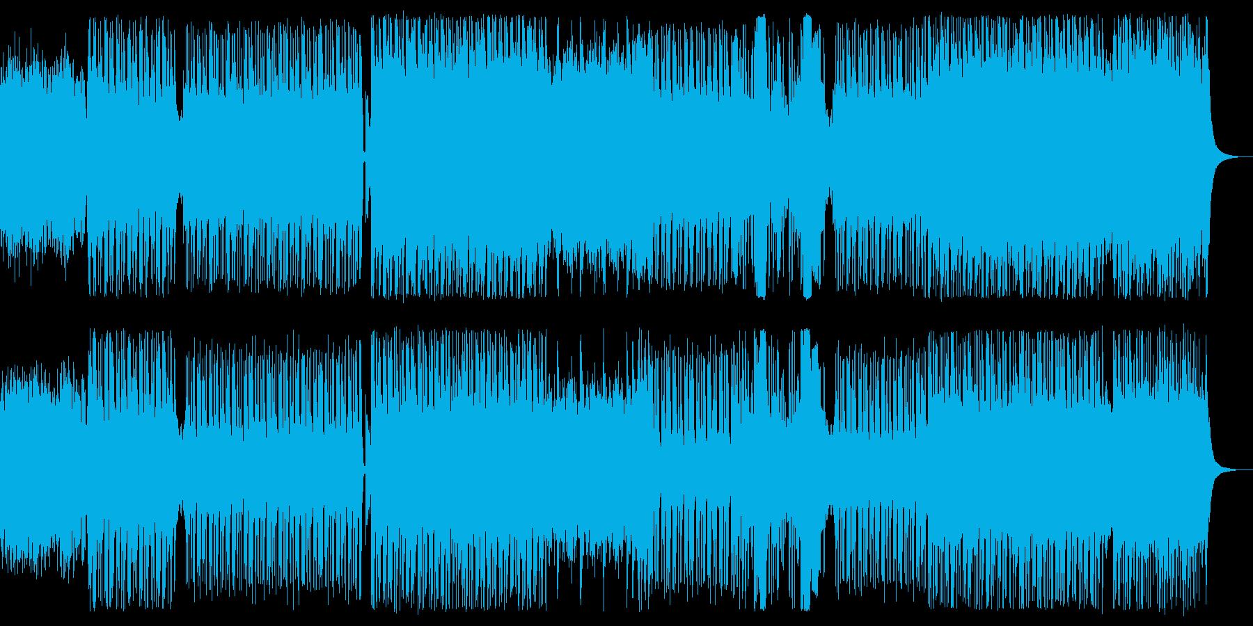 ロックっぽいギター/ベースのリフ曲の再生済みの波形
