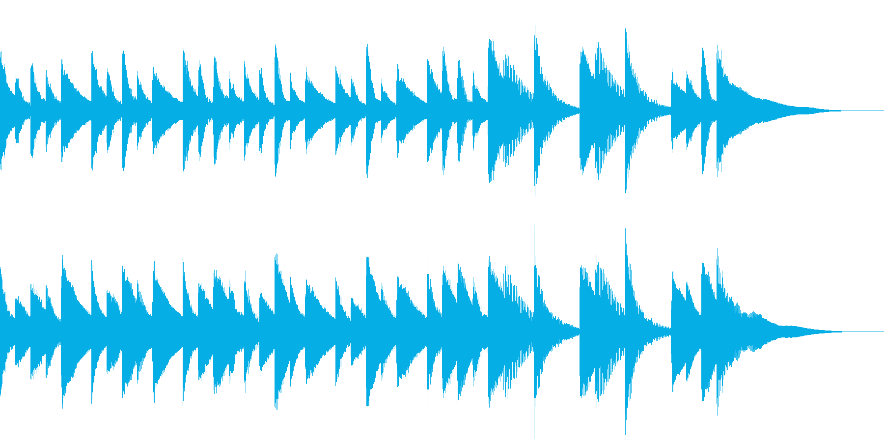 ほのぼのとしたジングルBGMの再生済みの波形