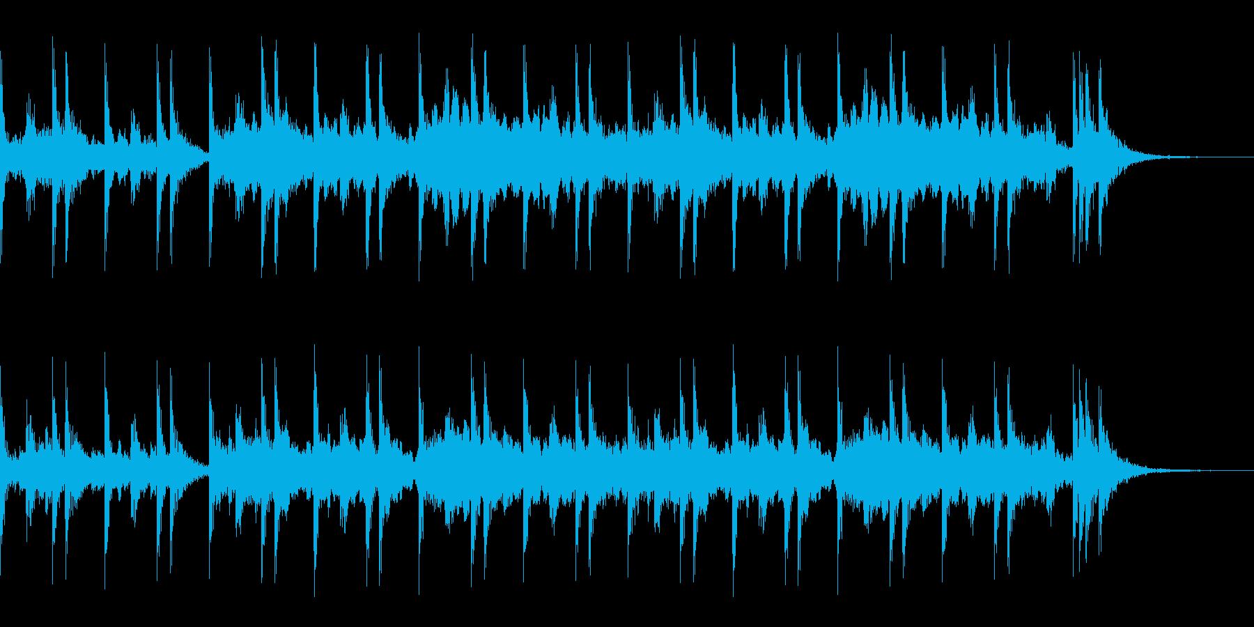 スネアロールとハープのアルペジオの再生済みの波形