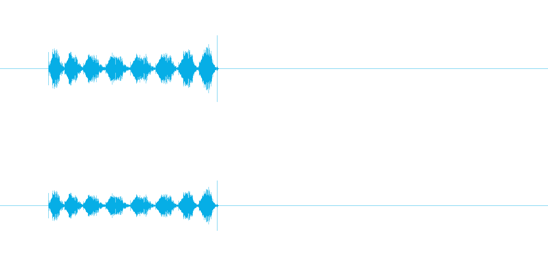 鳥、猿、かわいいモンスターの鳴き声の再生済みの波形