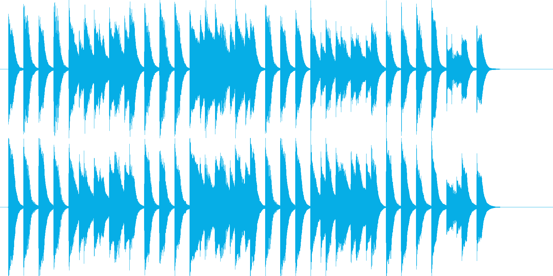 軽快なほのぼのピアノ曲の再生済みの波形