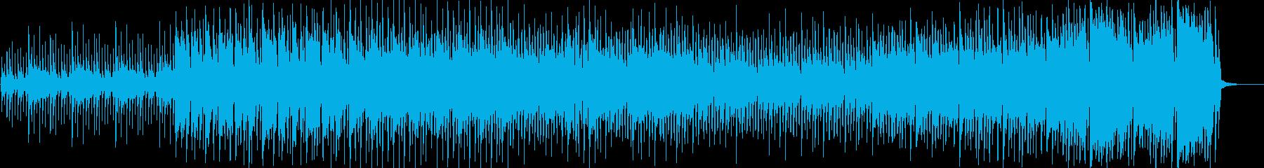 和楽器を使った騒がしいお祭り風の曲の再生済みの波形