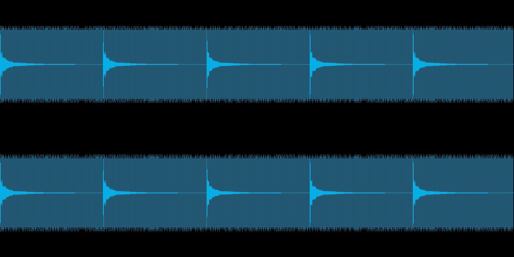 秒針と同じ速さ(1秒に1回)の再生済みの波形