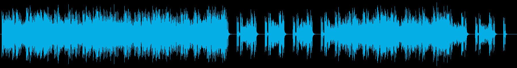 シンセサイザーの緊張感のあるミュージックの再生済みの波形
