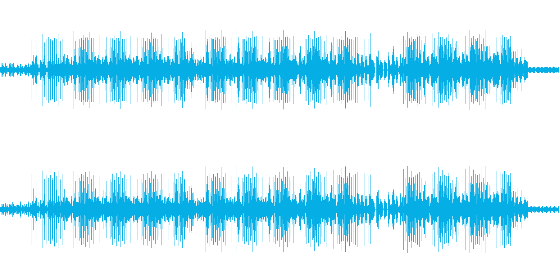 遅めの明るいハウスの再生済みの波形