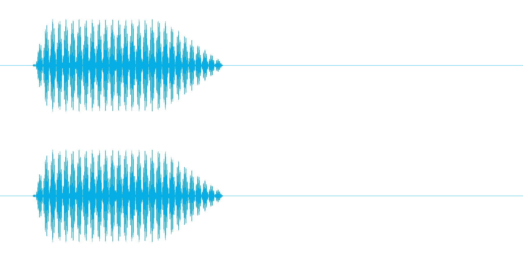 ポッという軽いクリック音の再生済みの波形