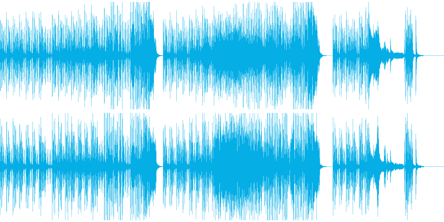 雨を連想させる跳ねたリズムのピアノソロの再生済みの波形