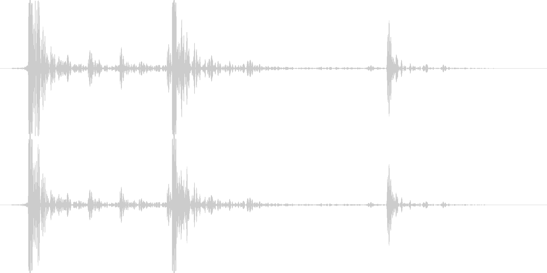 木製の机に石ころを置いた音の未再生の波形