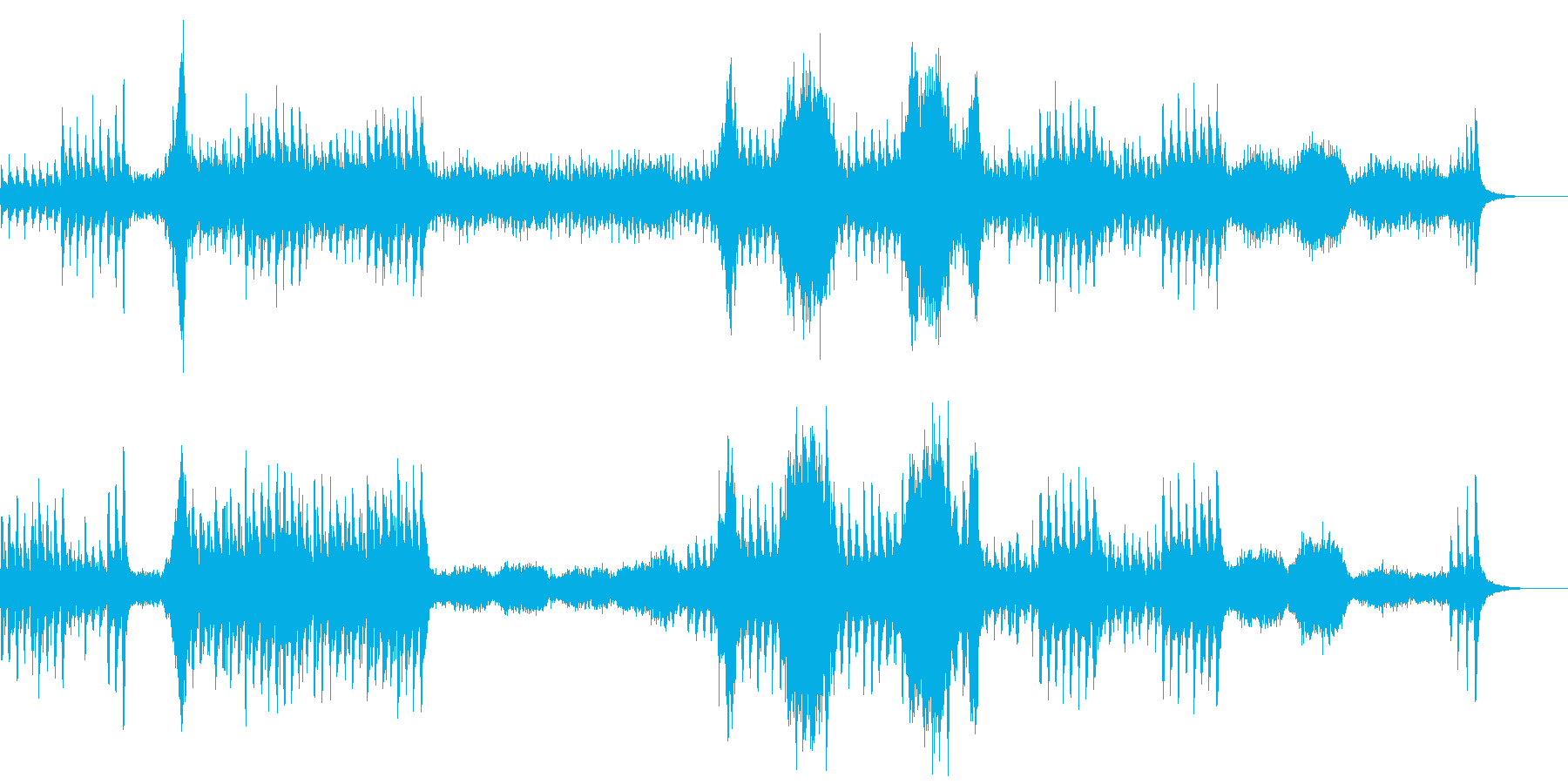 ホラー系、不気味、怖い、恐怖の曲の再生済みの波形