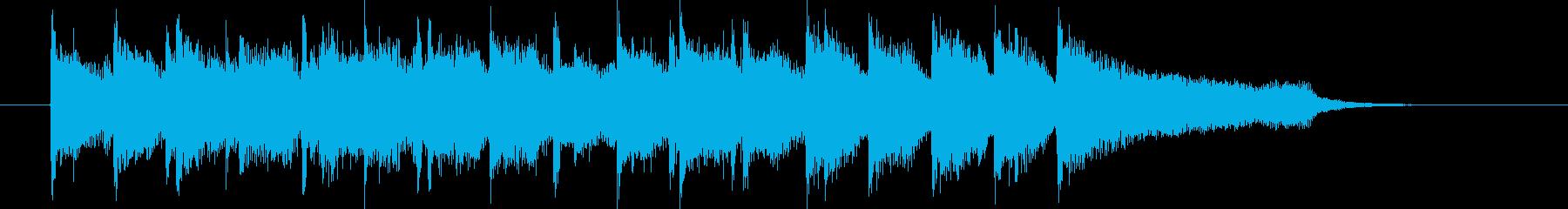 明るく弾みのある短いシンセサイザーの曲の再生済みの波形
