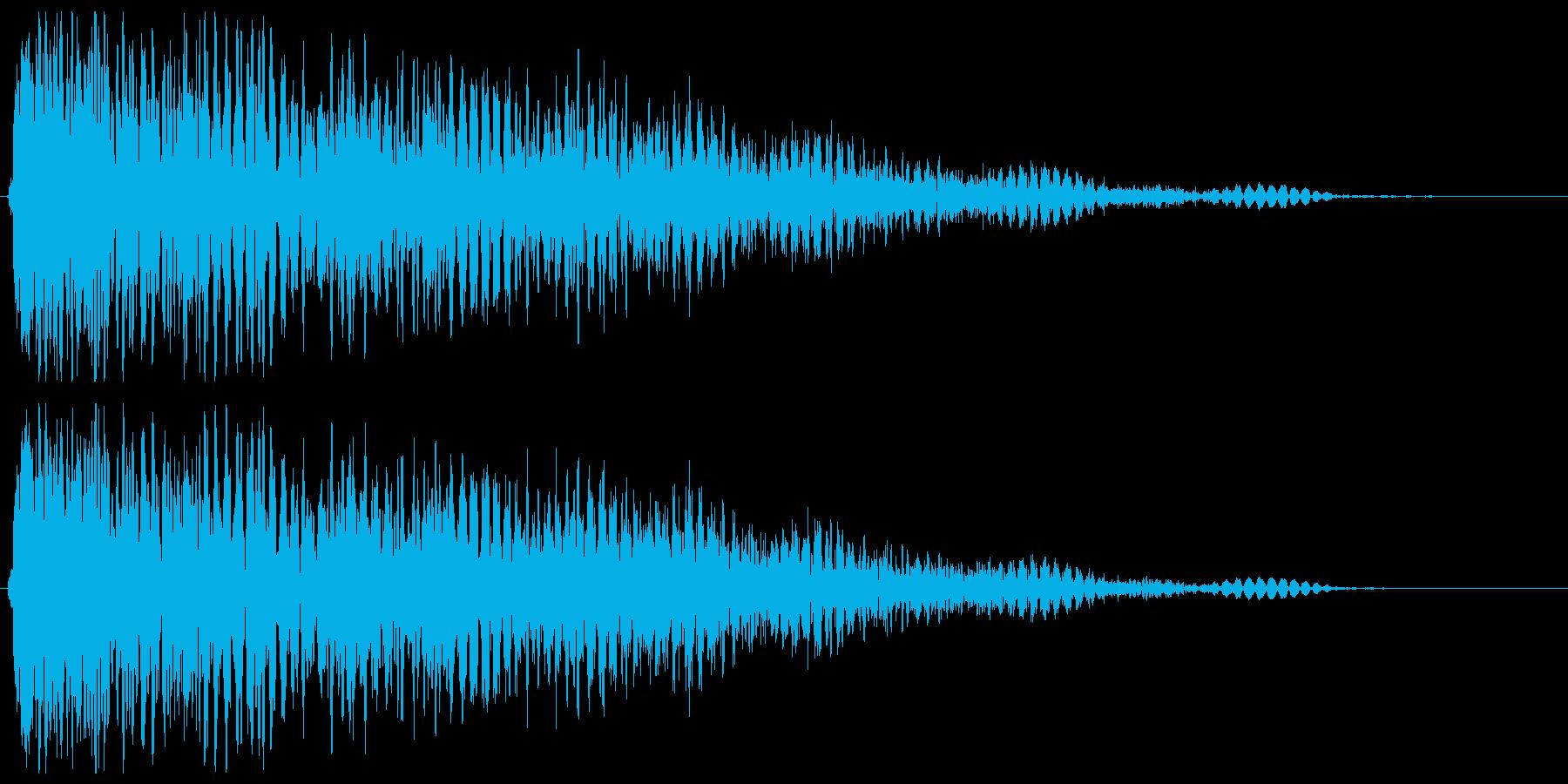 銃声音と余韻がある音の再生済みの波形