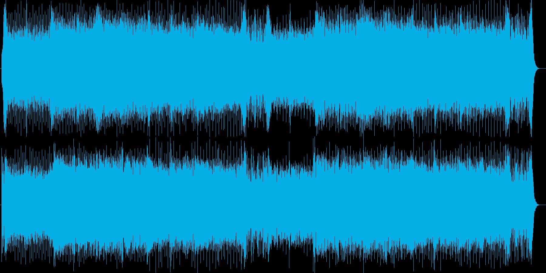 重厚で壮大な広がりのあるドラムの効いた曲の再生済みの波形