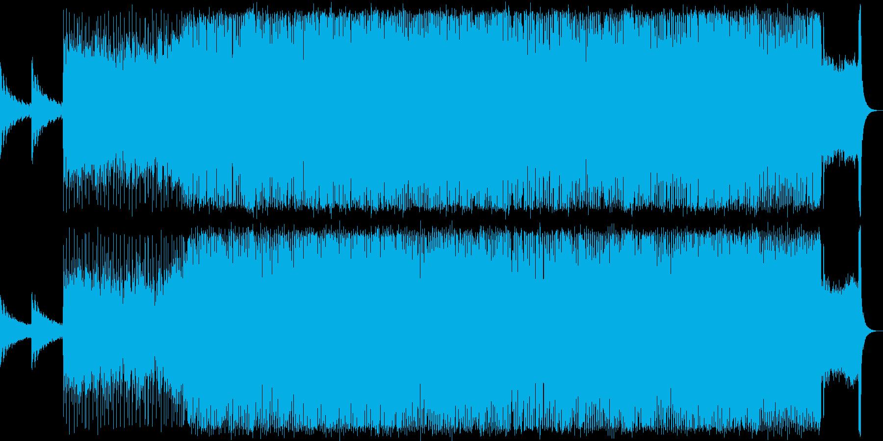 EDMとロックを組み合わせた激しい楽曲の再生済みの波形