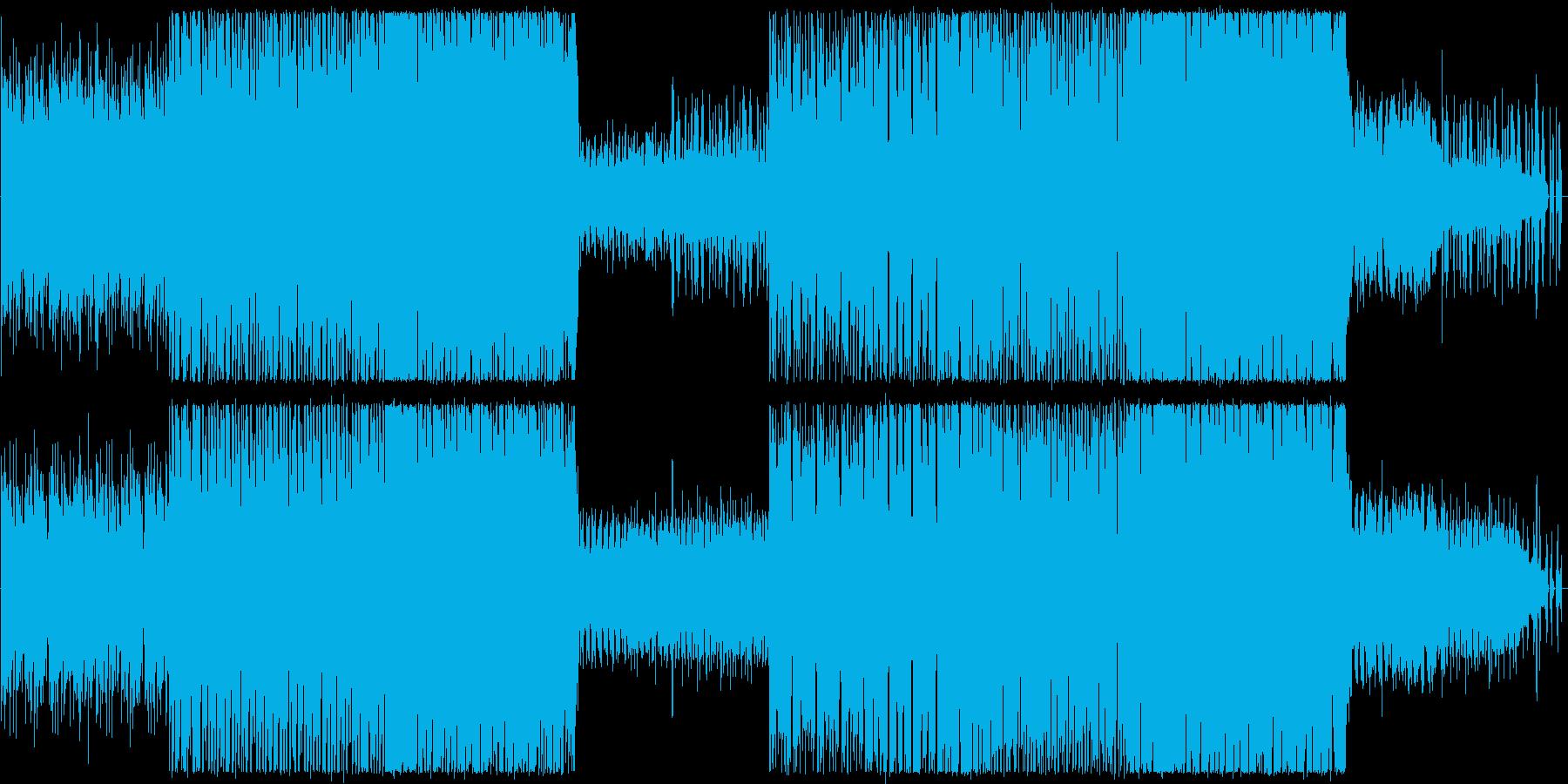 ビル群の夜景のような雰囲気のテクノBGMの再生済みの波形