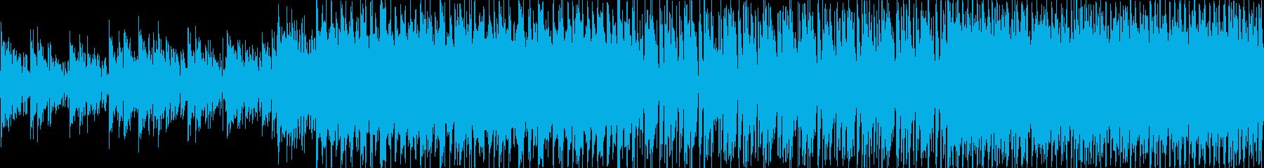 ループ曲です。騒がしいパーカッションの…の再生済みの波形