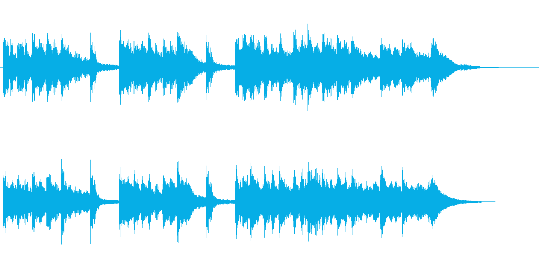 TV・ラジオ音圧。琴笛を使った邦楽出囃子の再生済みの波形