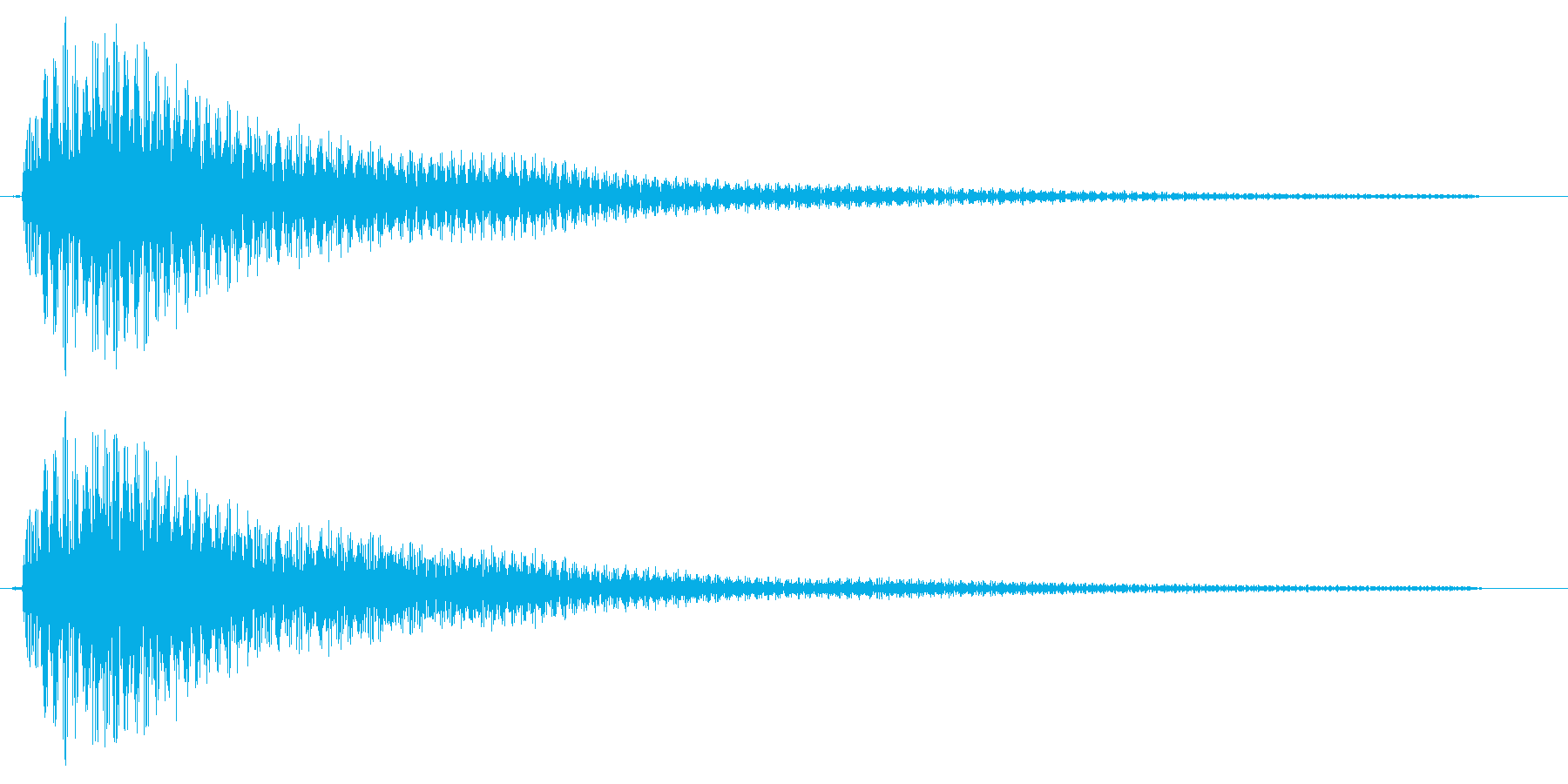 ピローンというビブラホーン風通知音の再生済みの波形
