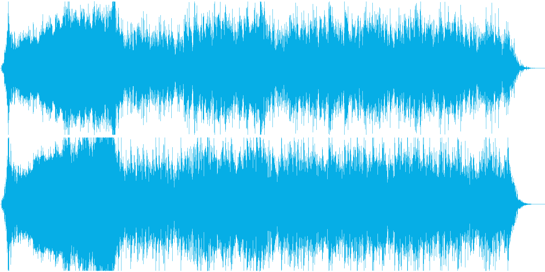 迫力、緊張感のある戦闘シーンの曲の再生済みの波形