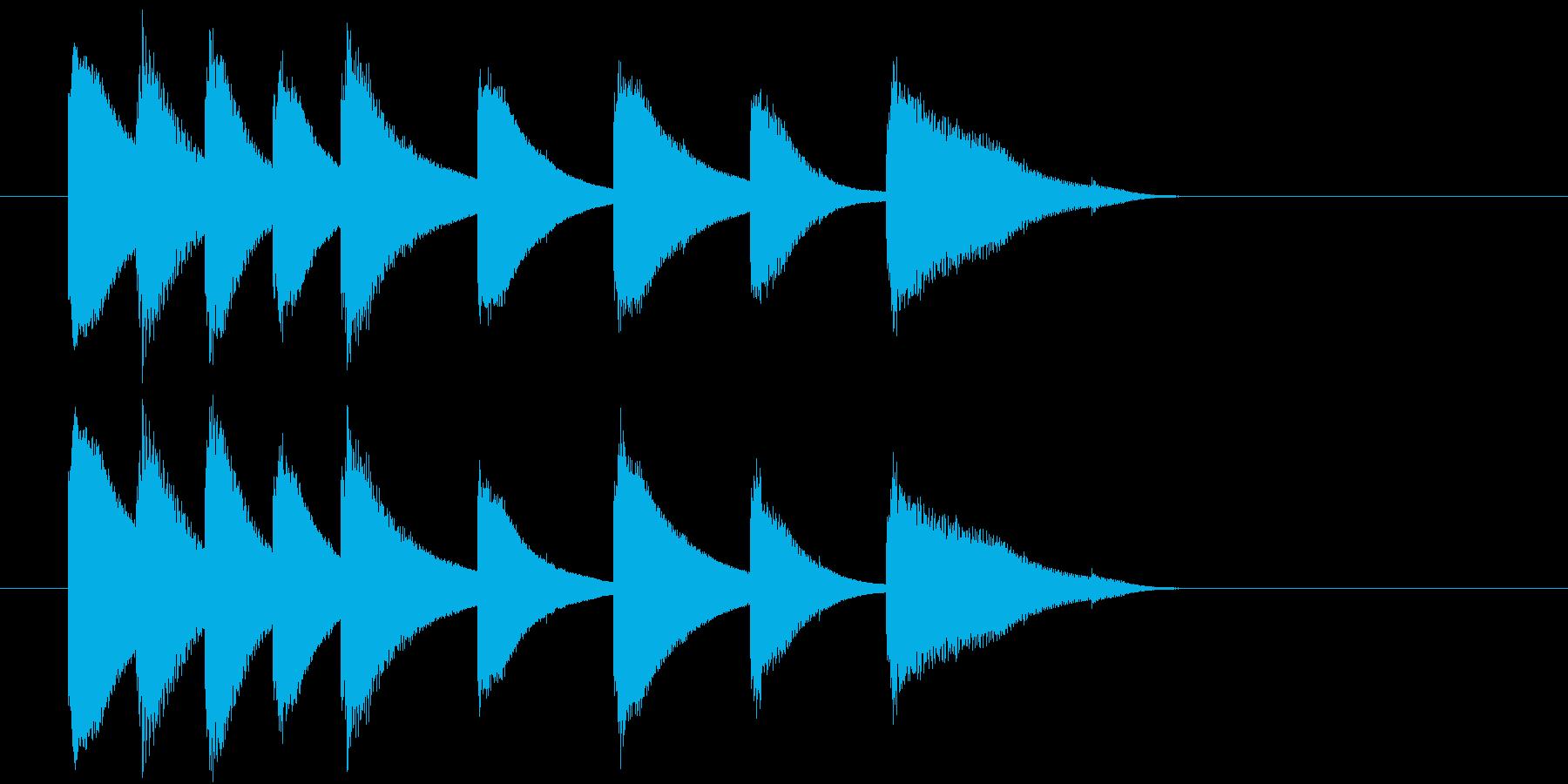 鉄琴のほのぼのとした短めのジングルの再生済みの波形