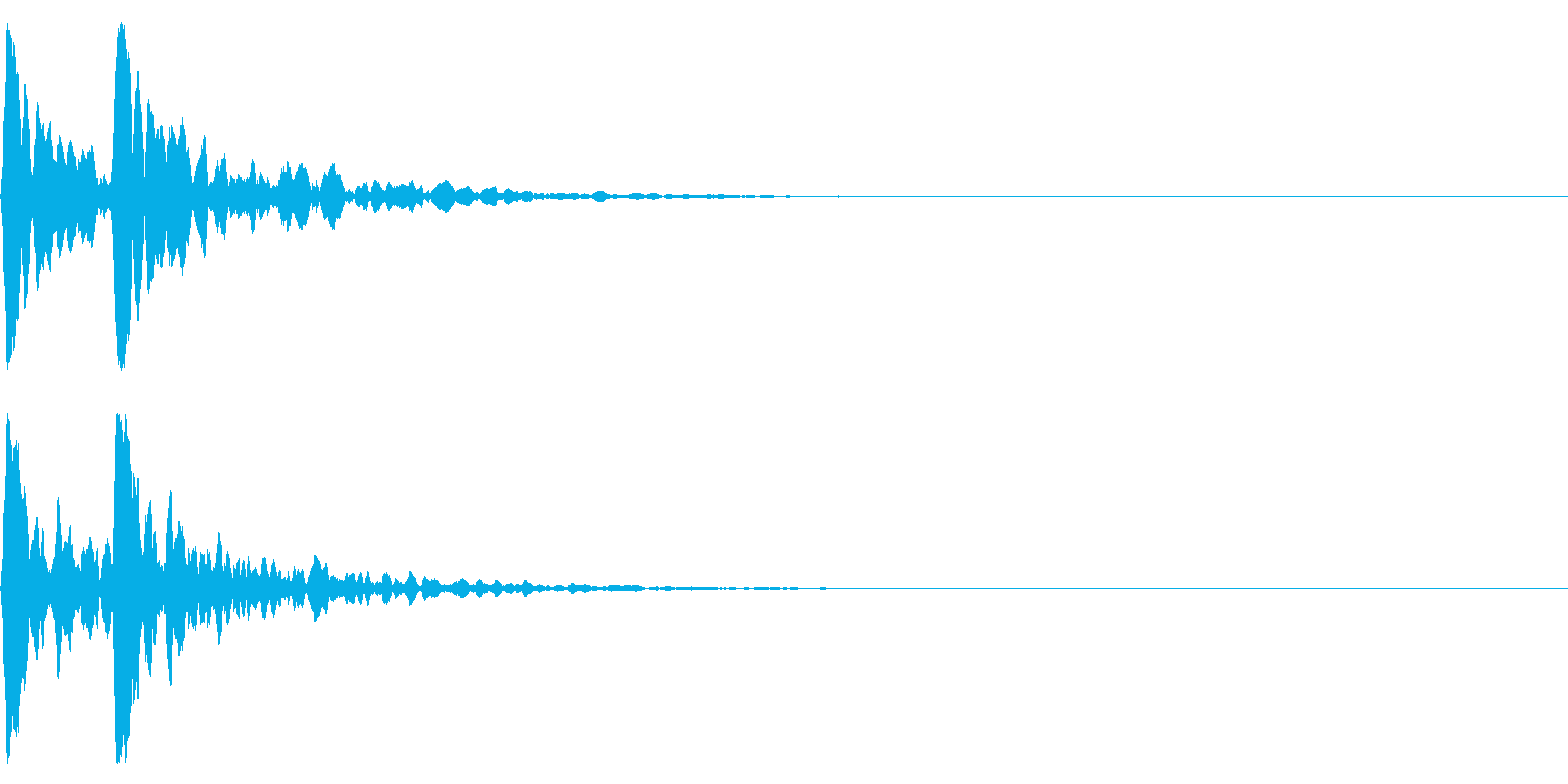 ポポン!音程高め鼓の基本の音!エフェクトの再生済みの波形
