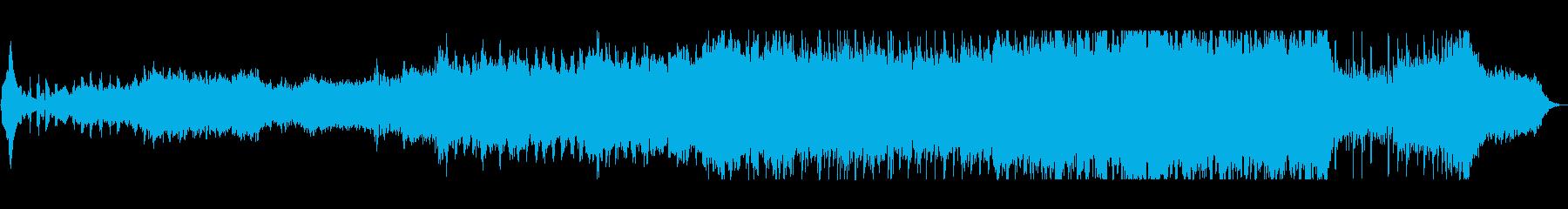 明るく勢いのある管楽器やシンセサイザー曲の再生済みの波形