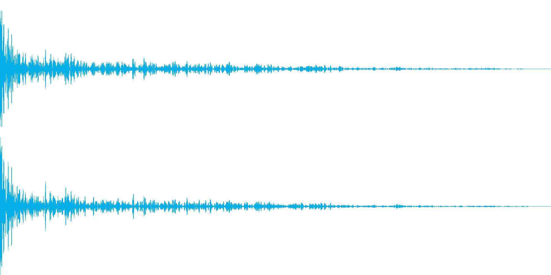 ボウリングの投球(減衰あり)の再生済みの波形