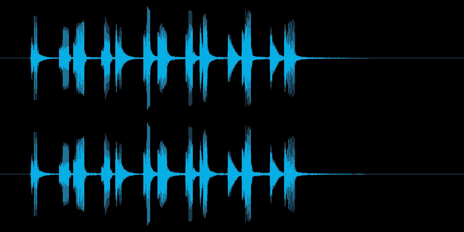 コミカルなリズム音(アニメ、ジングル)の再生済みの波形