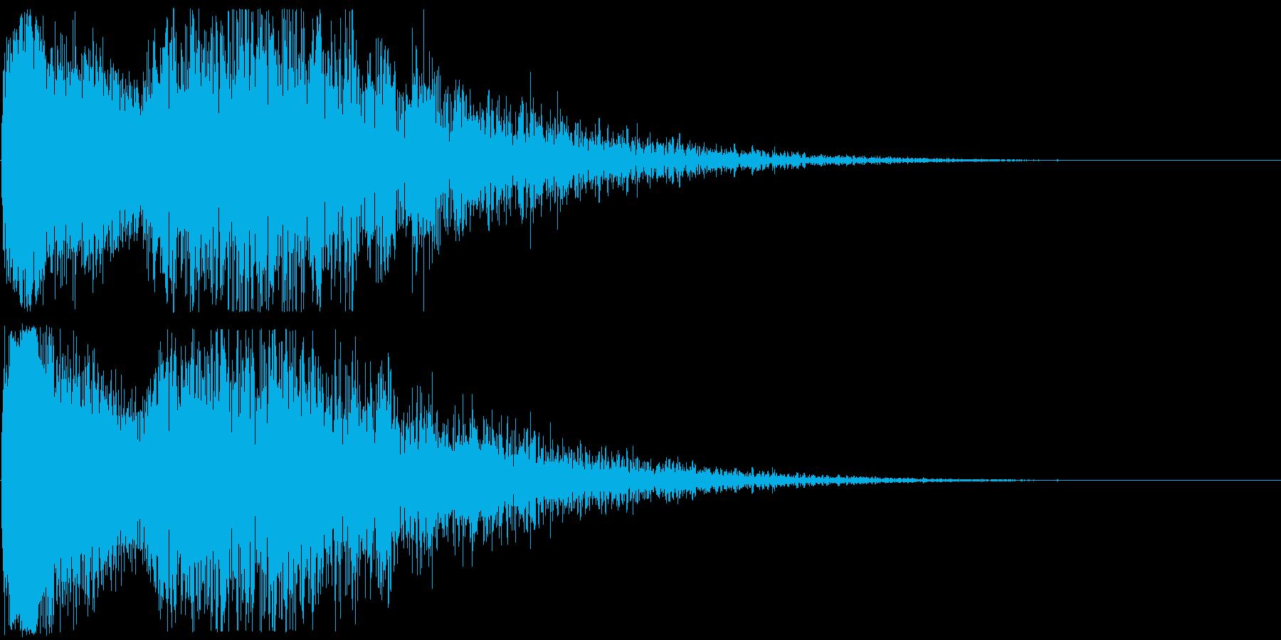 雷【落雷、残響のミックス】の再生済みの波形