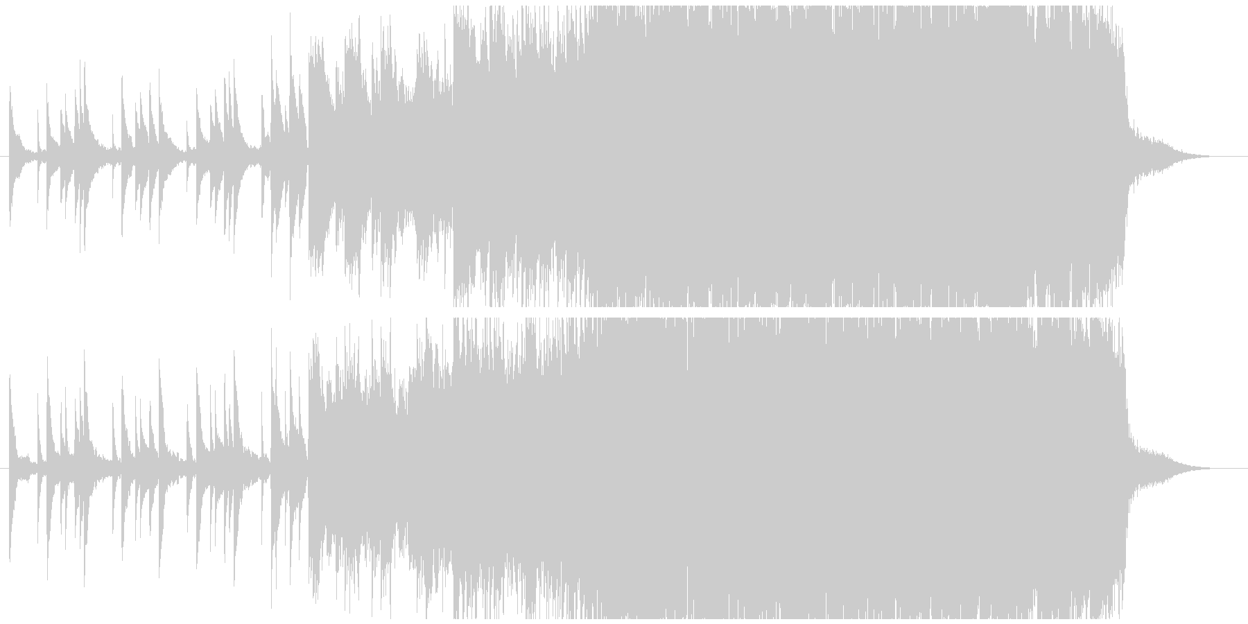 だんだん盛り上がるエモーショナルな曲の未再生の波形