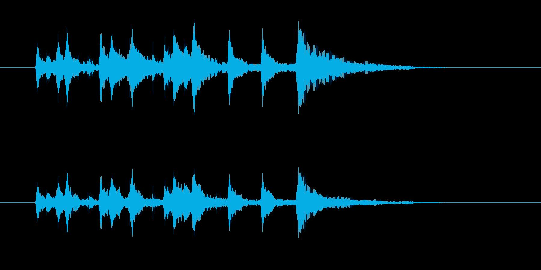 楽しげなギター音(弦、弾く)の再生済みの波形
