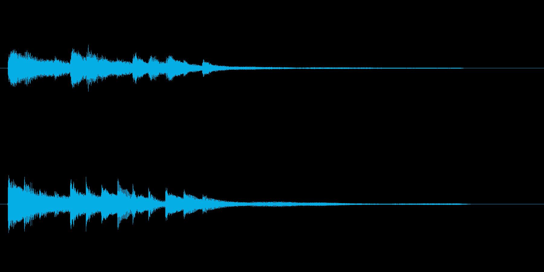 ゲームやアプリに、ピアノの転換ジングルの再生済みの波形