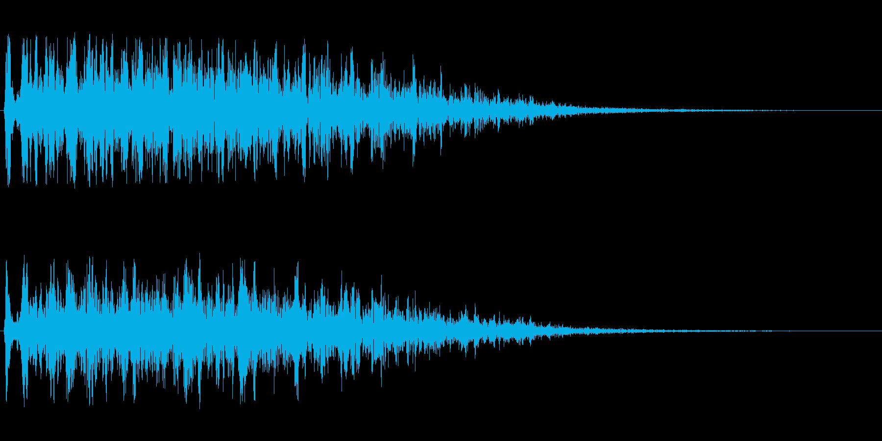 変化のある風切りの音の再生済みの波形