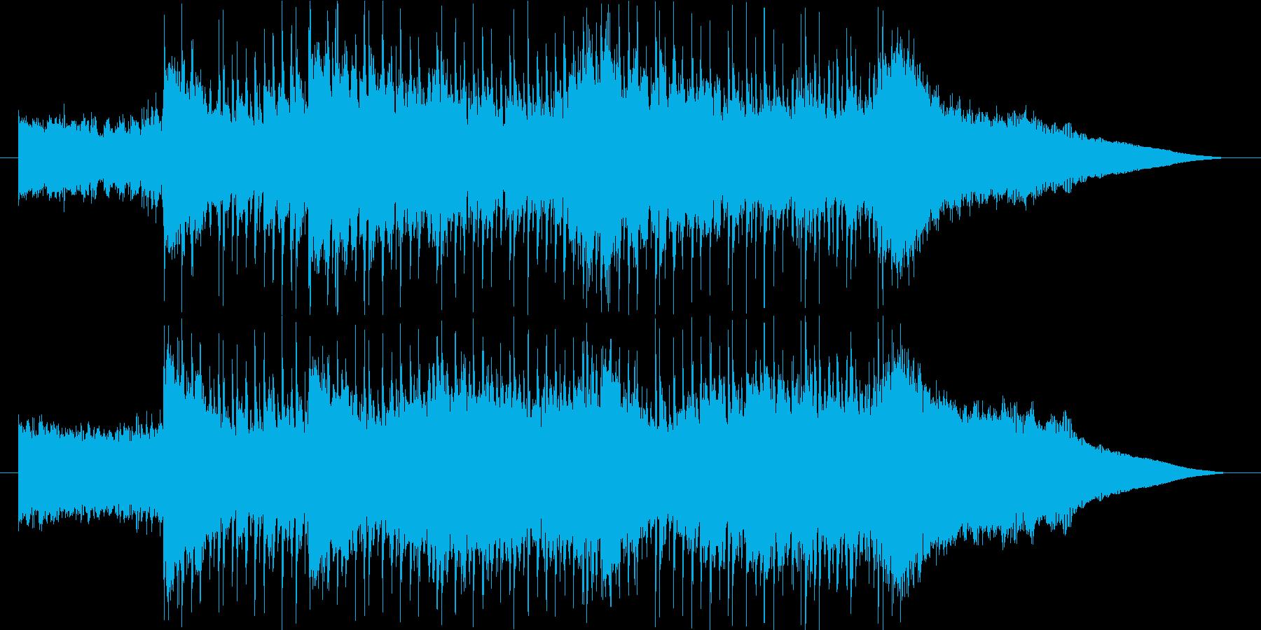 激しいギターリフのロックの再生済みの波形