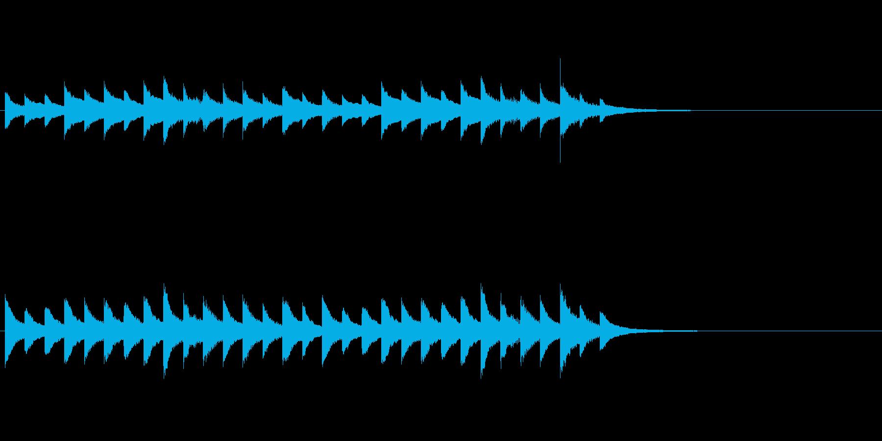 オルゴールの合図音、お知らせ、着信音の再生済みの波形