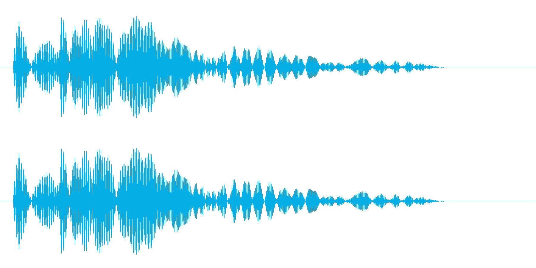 プワーン(シンプルでかわいらしい決定音)の再生済みの波形