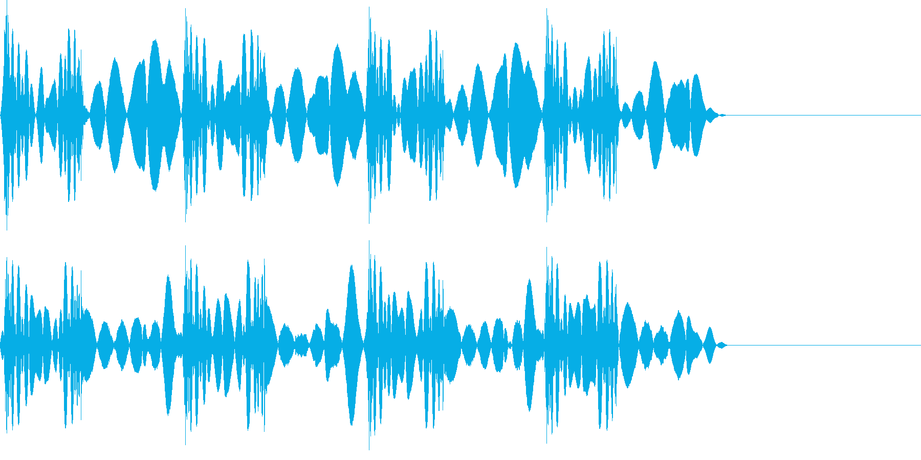 スクラッチ 音 こすり4回の再生済みの波形