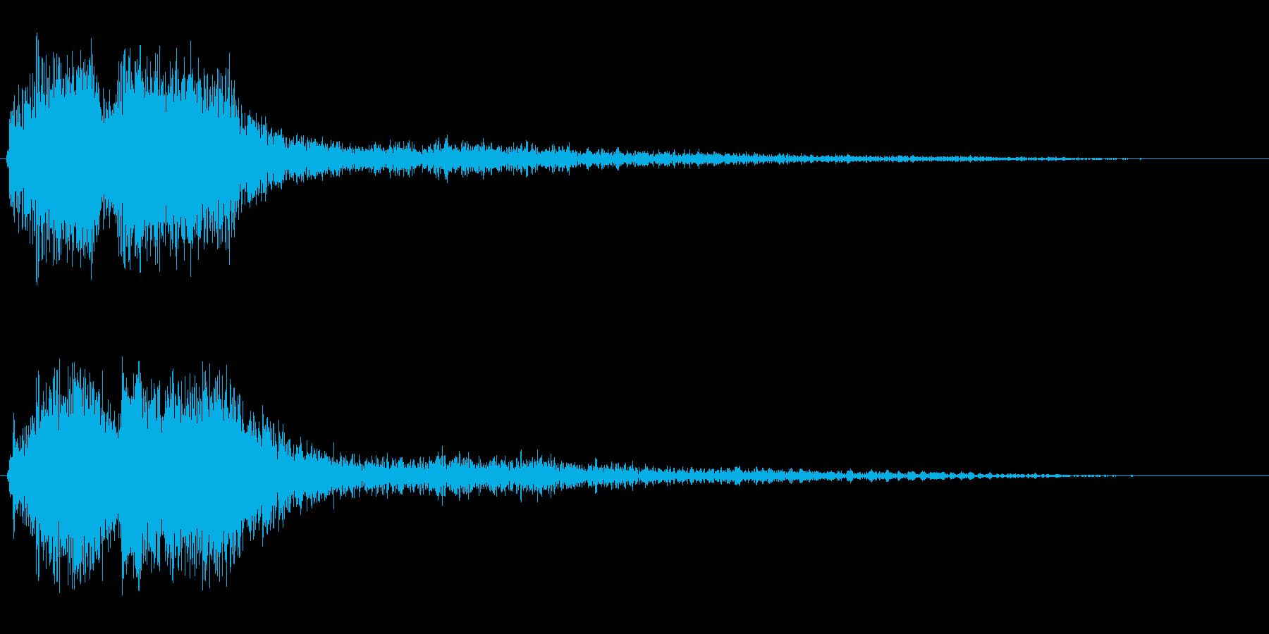 レーザービームが発射される効果音の再生済みの波形
