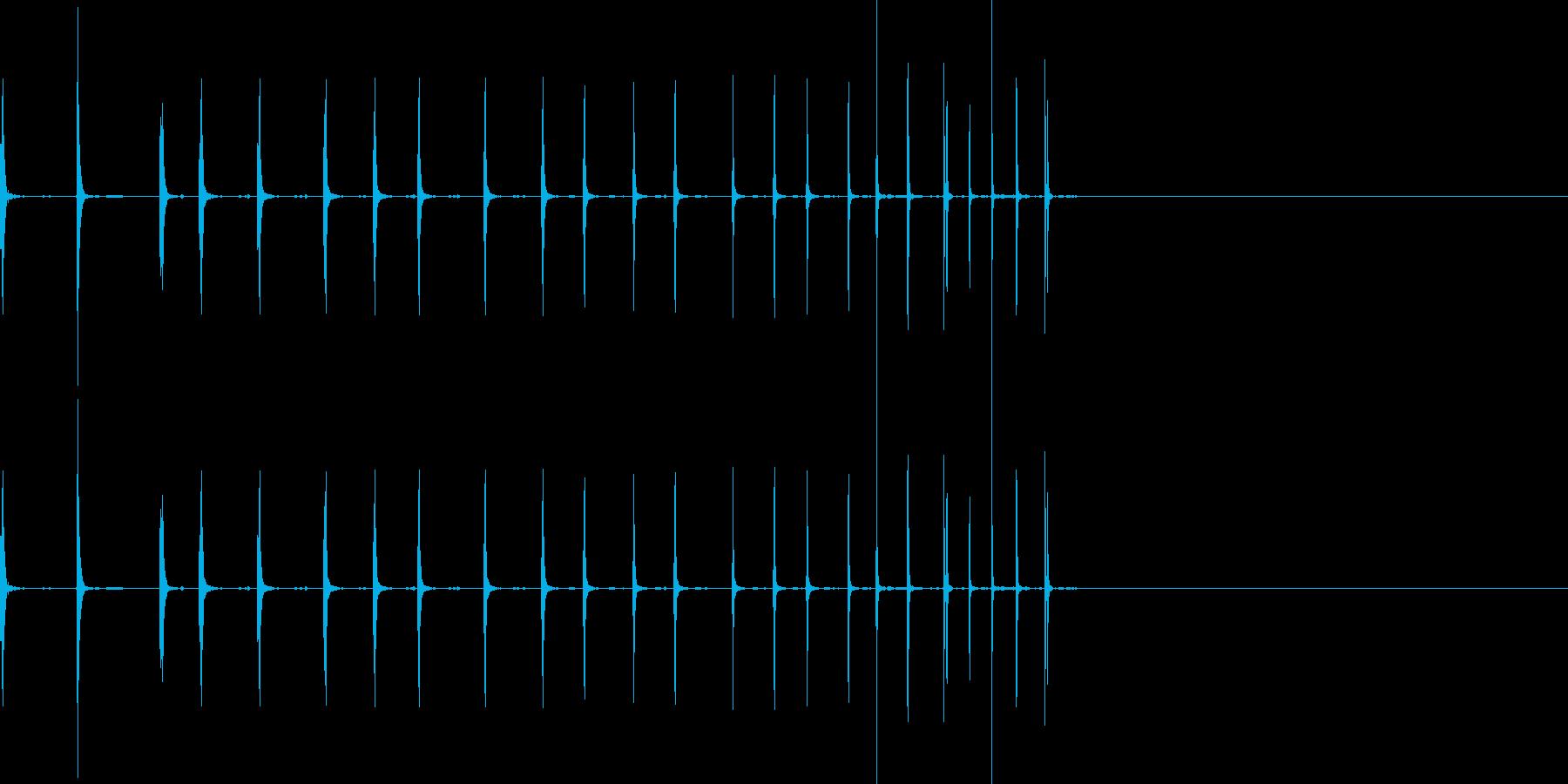 ゼンマイを巻くような効果音の再生済みの波形