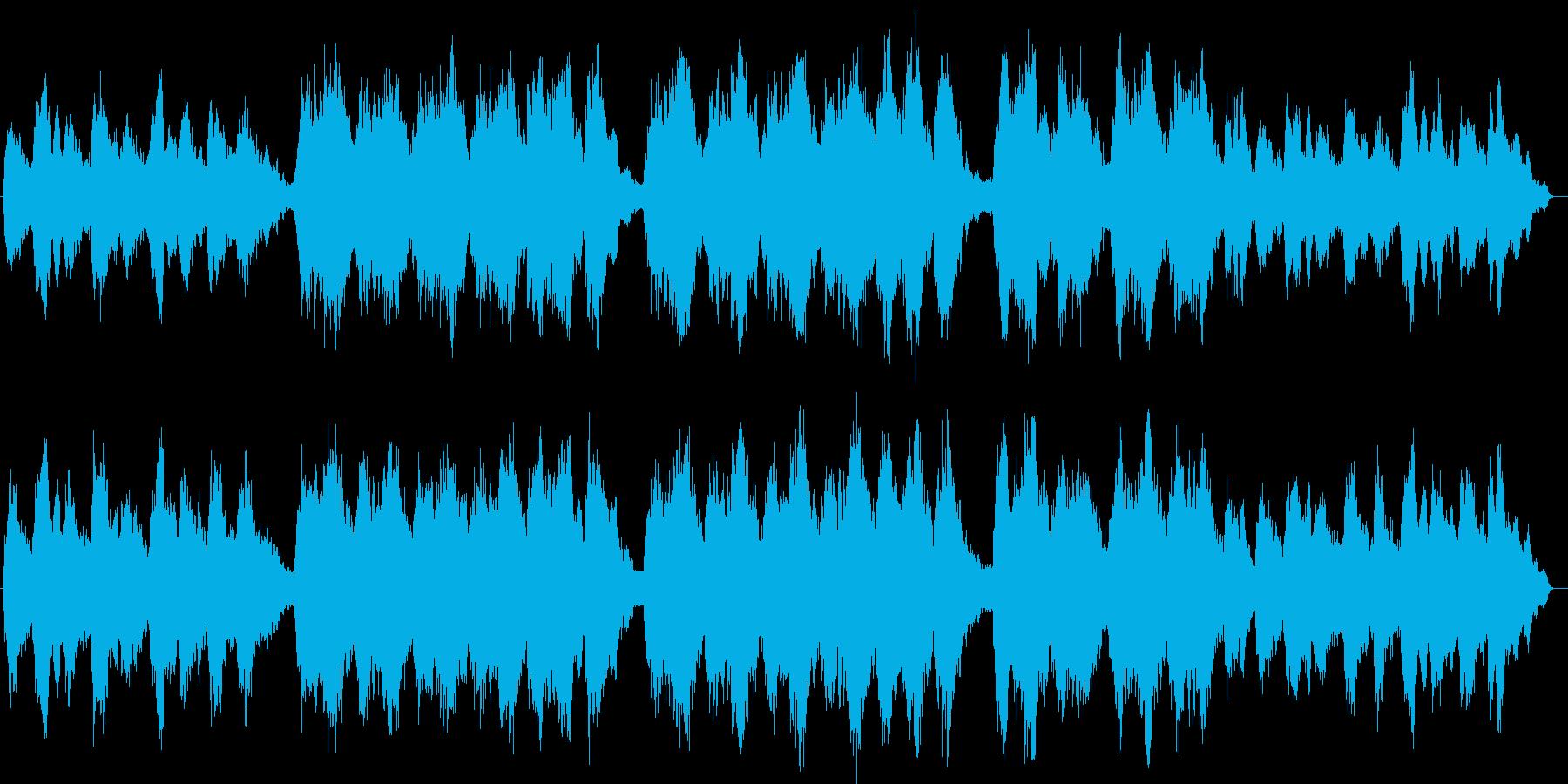 水が輝く印象のシンセサイザーヒーリング曲の再生済みの波形