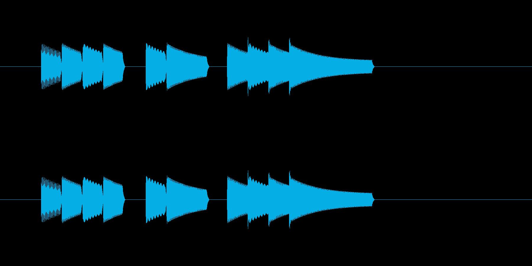 ファミコン風レベルアップ音の再生済みの波形