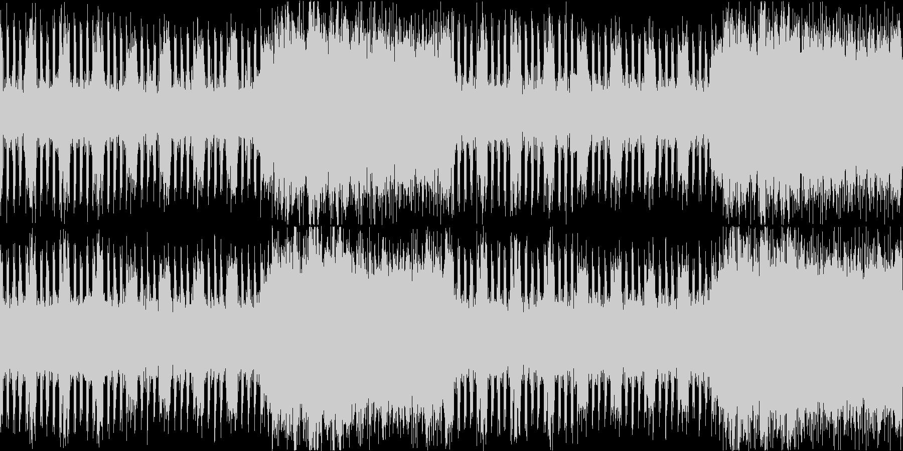 ギターとストリングスの緊迫感あるBGMの未再生の波形