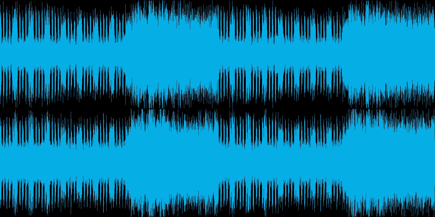 ギターとストリングスの緊迫感あるBGMの再生済みの波形