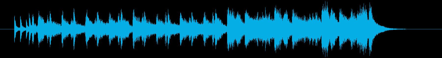 ドラム混じりの明るいシンセサイザーの曲の再生済みの波形