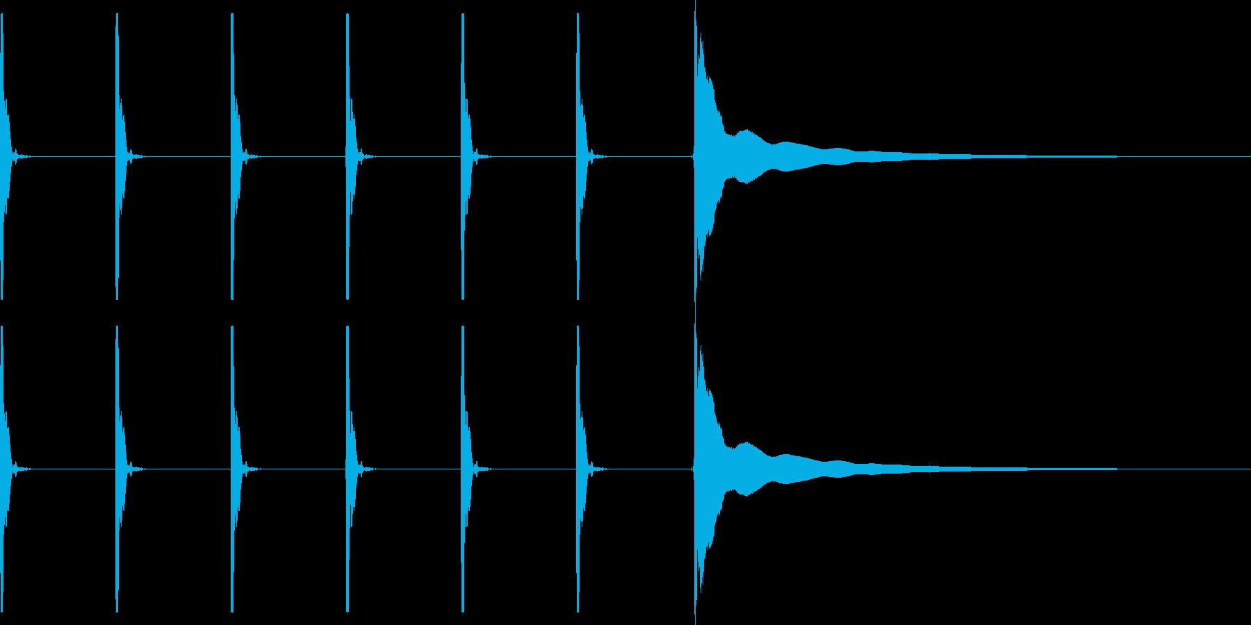 【生録音】ポクポクポク・チーン(早め)の再生済みの波形