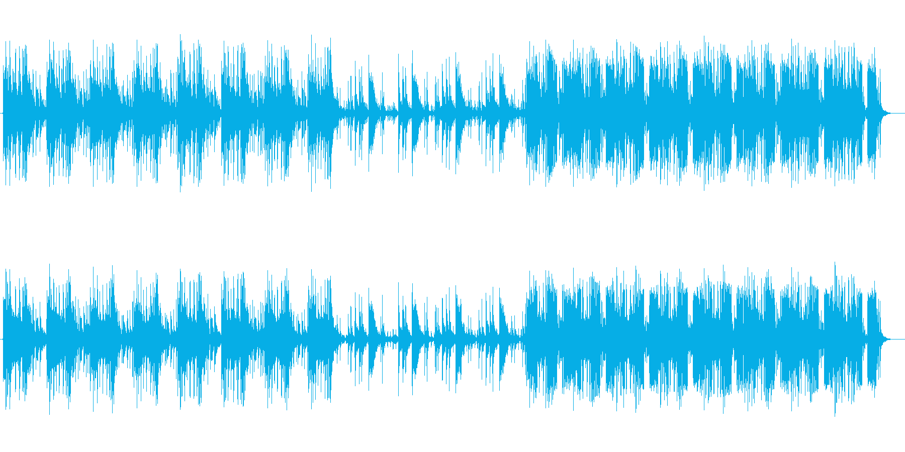暗めのトーンでメリハリあるミュージックの再生済みの波形