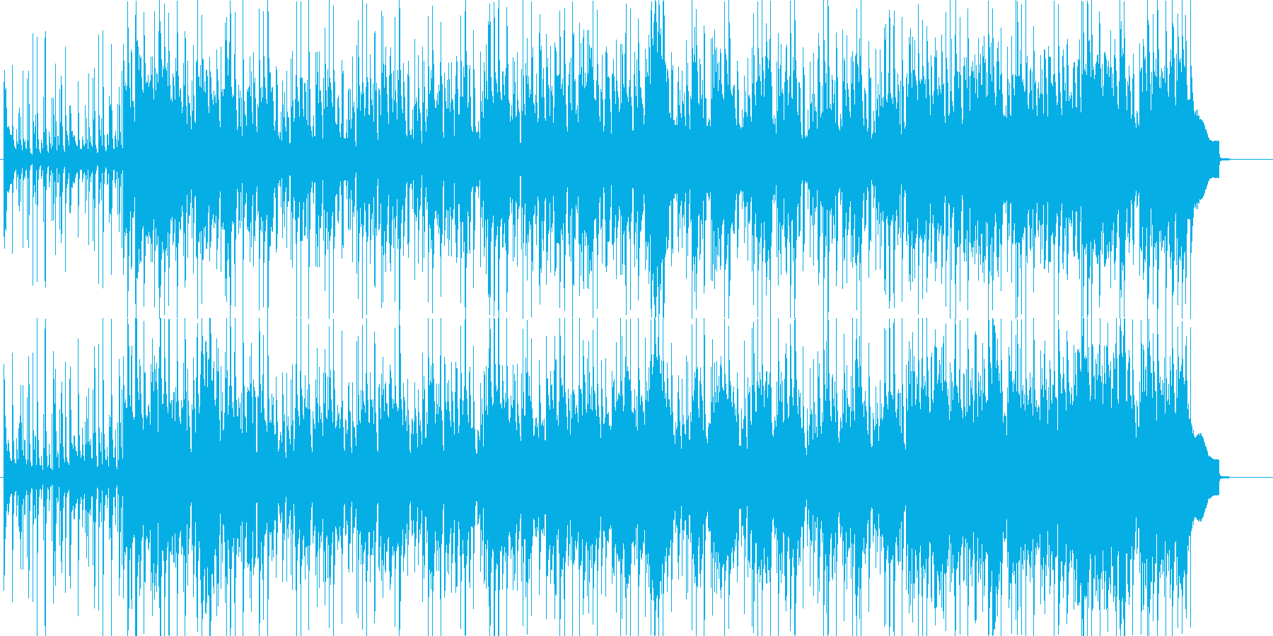 ゆったりしたテンポの明るい楽曲の再生済みの波形