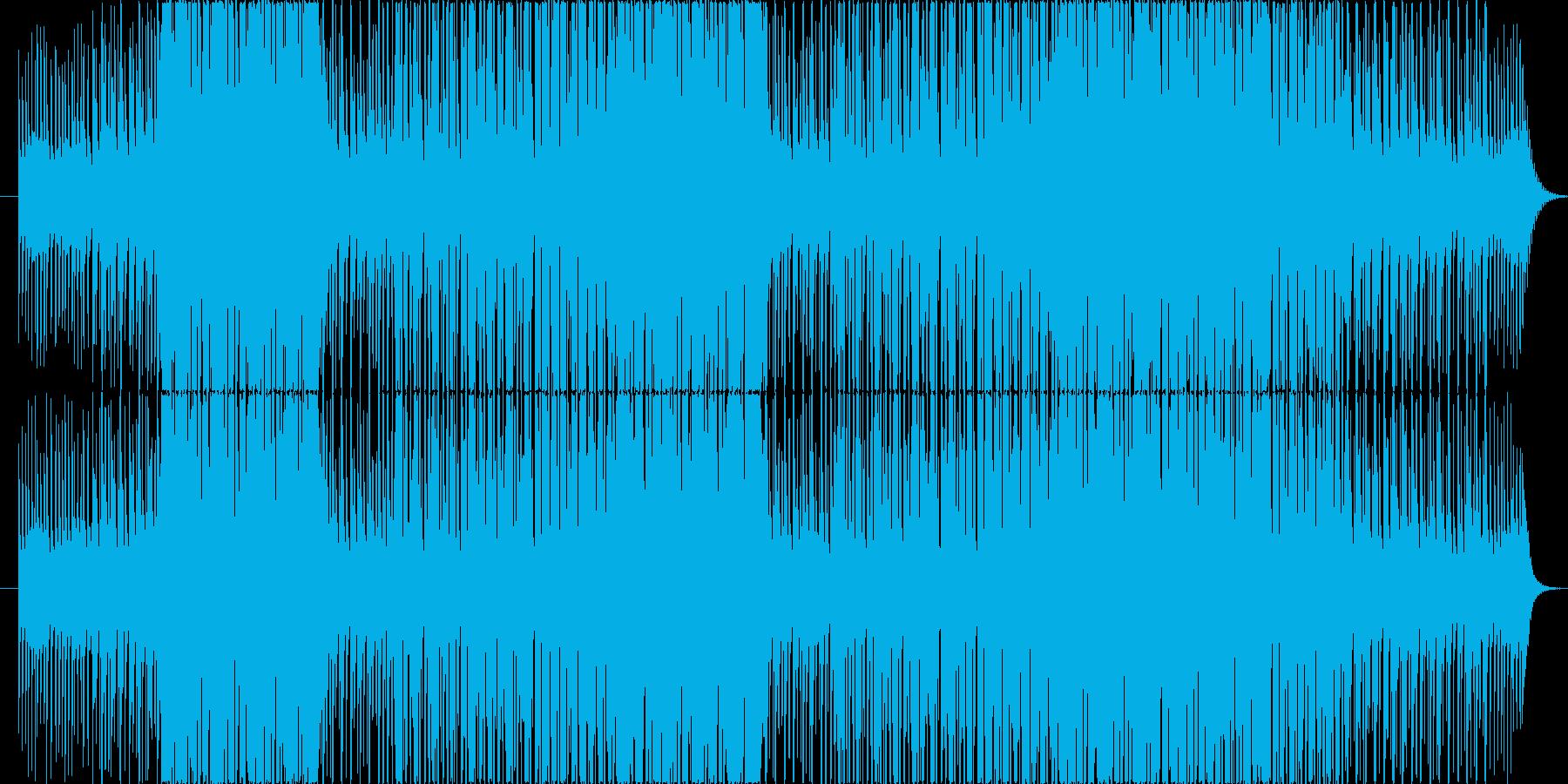 リバーブ強目シンセサイザーとピアノの旋律の再生済みの波形