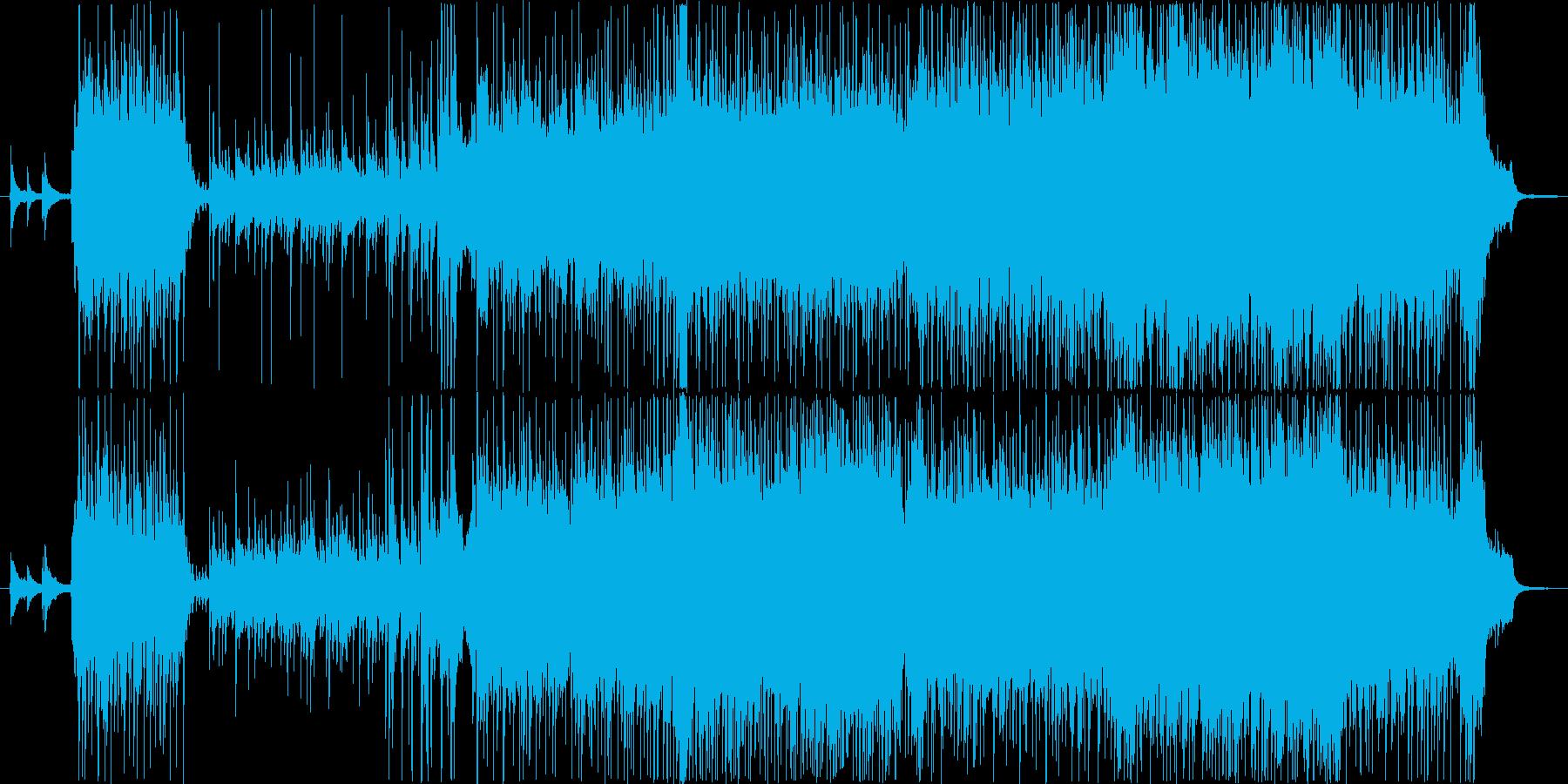 琴などの和楽器と現代的なリズムの戦闘曲の再生済みの波形
