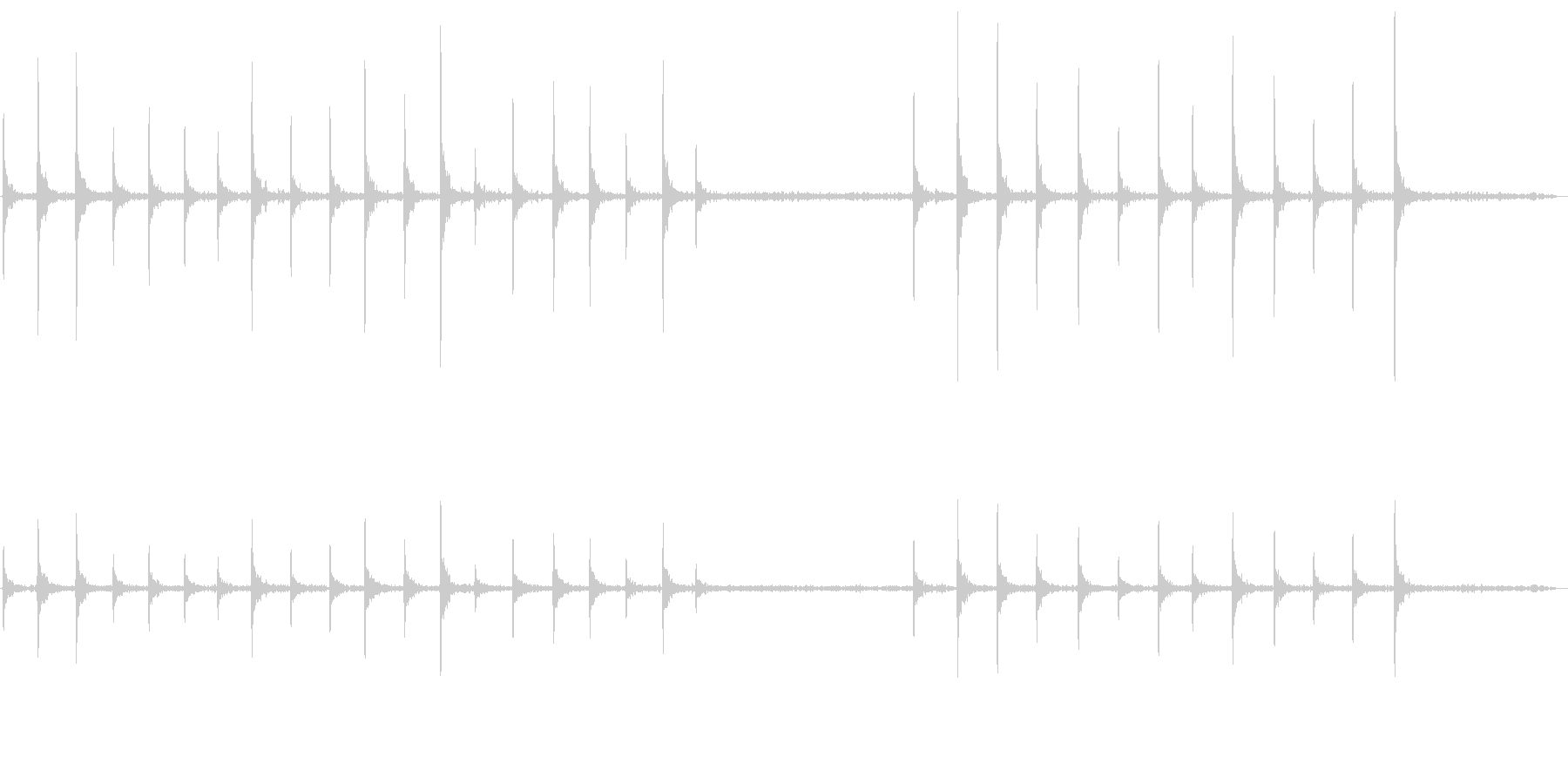 カツカツカツカツ(連続する乾いた音)の未再生の波形